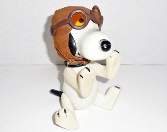 Vintage Snoopy Peanuts Mascot Key Charm Flying Ace Plush Doll Chain Ring