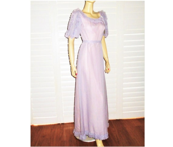 70s Bridesmaid Gown Lavender Prairie Dress XS NOS