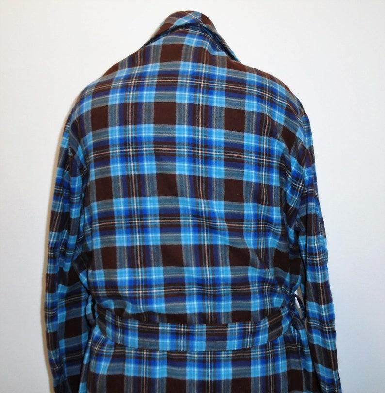 Vintage Mens Robe Scottish Blue Plaid Flannel Robe L