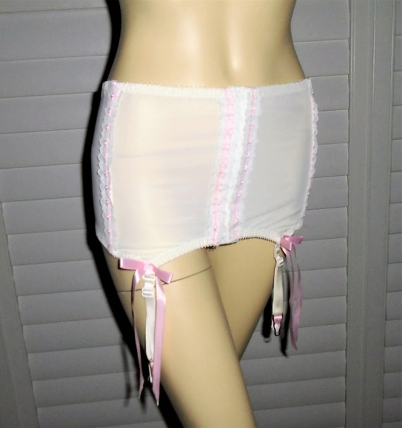 70s Girdle Pink White Garter Belt with Garters Sha