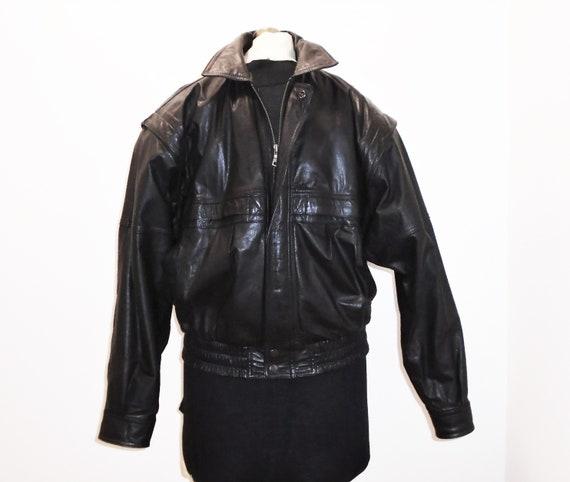 80s Black Leather Jacket 40s Style Pilot Bomber Ja