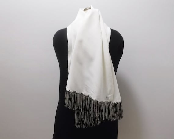 50s Mens Dress Scarf Vintage Scarf Black and Whit… - image 3