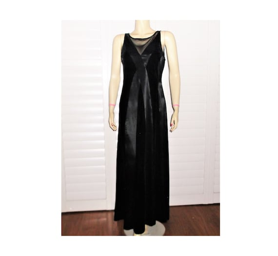 Vintage Evening Gown 80s Black Velvet Dress M