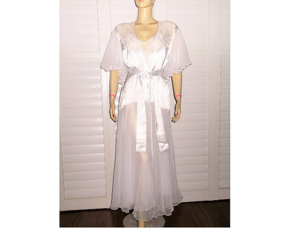 Vintage Bridal Robe and Nightgown 90s Peignoir Set