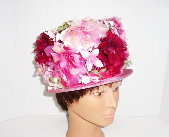 60s Flower Hat Vintage Spring Flowers Church Hat