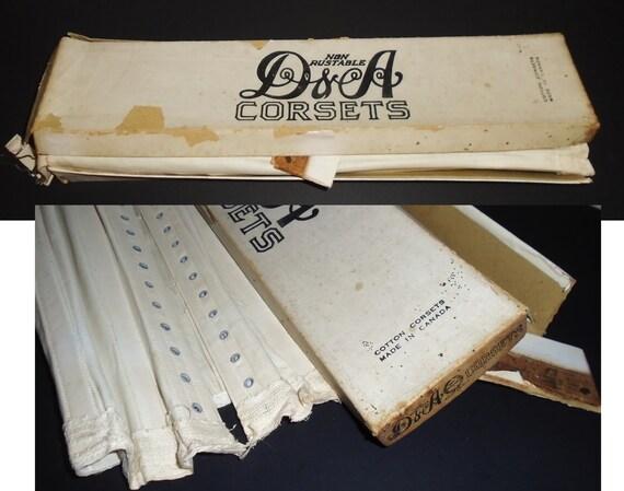 Antique White Corset 1910s Lace Up Corset w Box X… - image 10