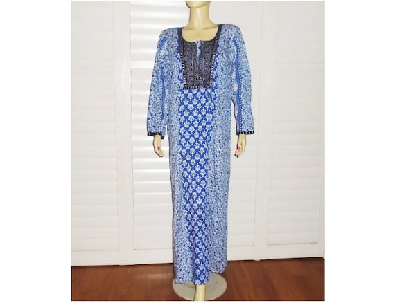 Vintage Indian Dress Blue Cotton Maxi Dress Lounge