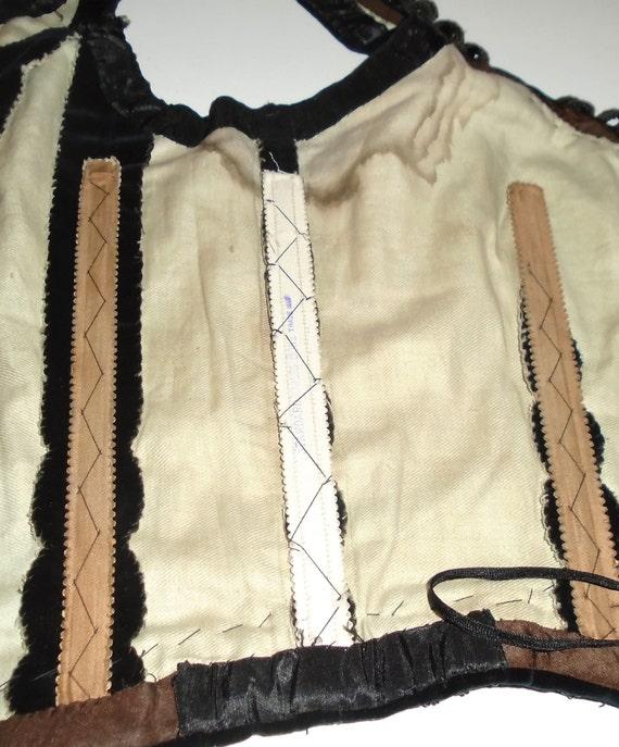 Victorian Corset Beaded Jet Black Velvet Lace Up … - image 10