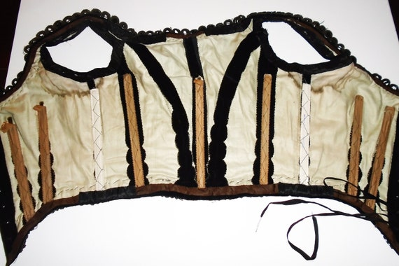 Victorian Corset Beaded Jet Black Velvet Lace Up … - image 6