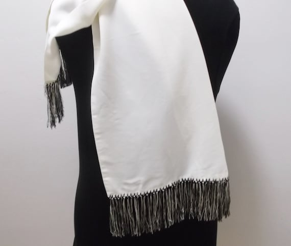 50s Mens Dress Scarf Vintage Scarf Black and Whit… - image 6