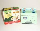 60s Miniature Oven Linemar Toys Dollhouse Range w Fuller Pans
