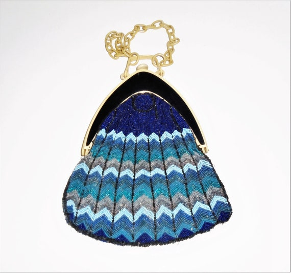 30s Evening Bag Blue Chevron Beaded Bag w Celluloi