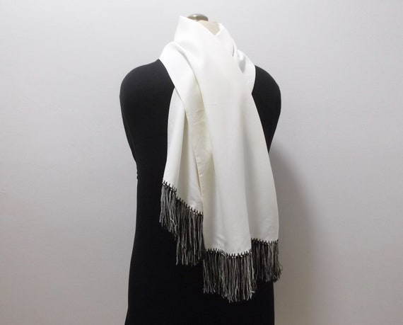 50s Mens Dress Scarf Vintage Scarf Black and Whit… - image 2