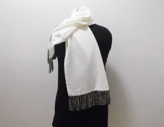 50s Mens Dress Scarf Vintage Scarf Black and Whit… - image 5