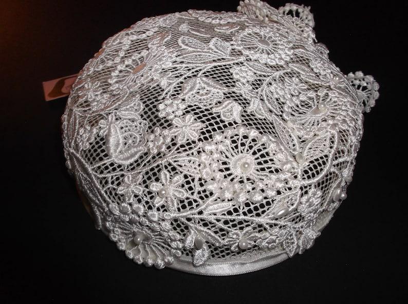 Vintage Bridal Hat 60s Crochet Lace Wedding Cap