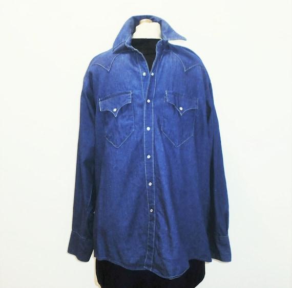 70s Jean Shirt Rockmount Denim Cowboy Shirt M