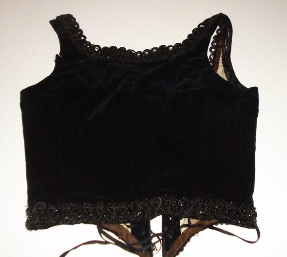 Victorian Corset Beaded Jet Black Velvet Lace Up … - image 4