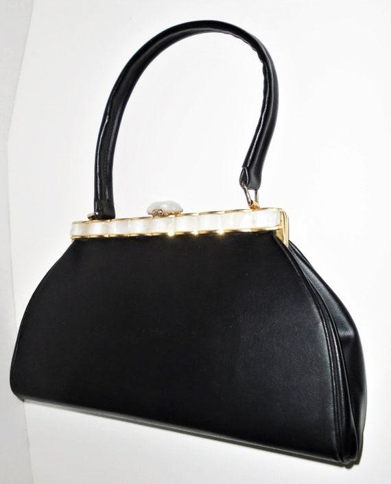 Vintage Black Leather Bag 50s Albro Purse w Lucite