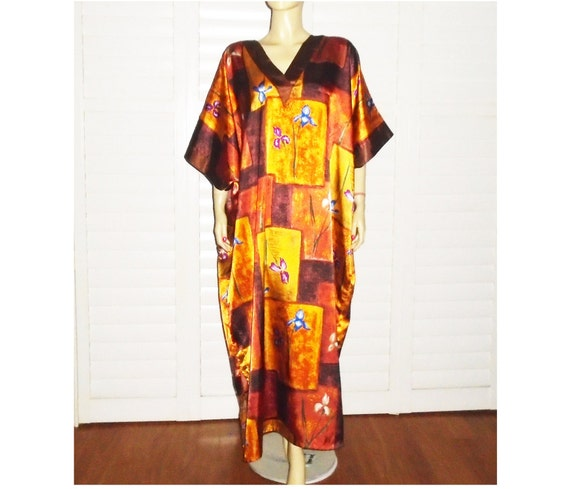 Vintage Caftan Dress Satin Caftan Loungewear OSFA