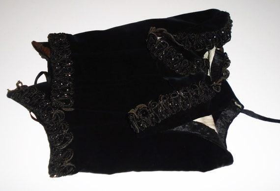 Victorian Corset Beaded Jet Black Velvet Lace Up … - image 5