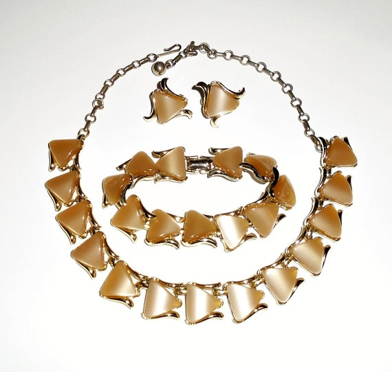 Vintage Coro Necklace Bracelet Set Brown Thermoset