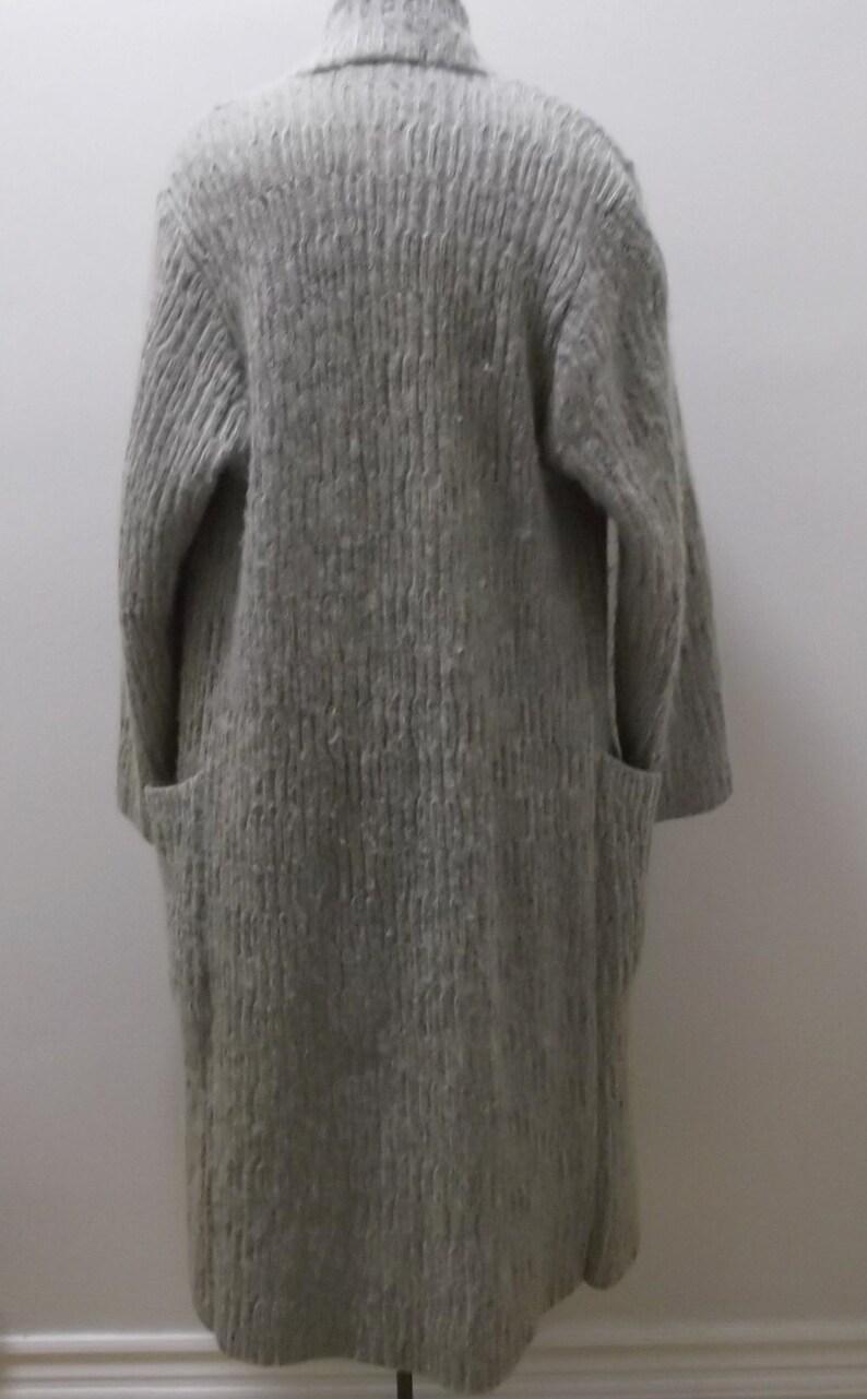 Vintage Sweater Coat 80s Grey Mohair Coat Medium