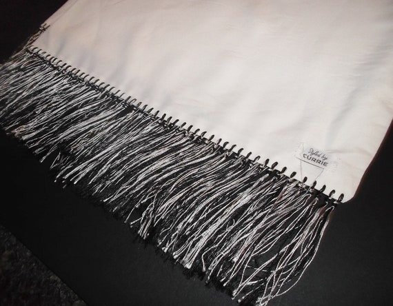 50s Mens Dress Scarf Vintage Scarf Black and Whit… - image 8