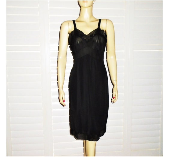60s Black Dress Slip 38 Vintage Satin Slip M