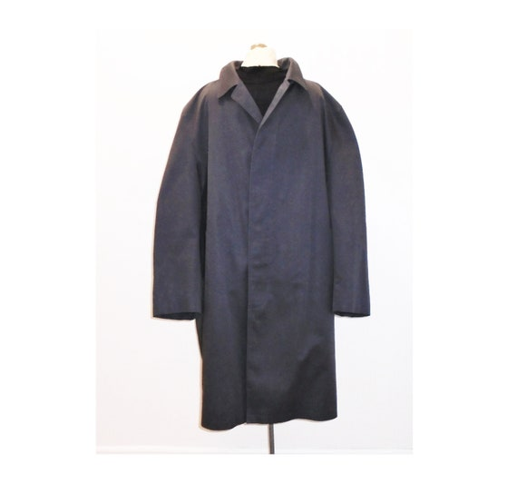70s Mens Overcoat 48 Vintage Grey Wool Coat L