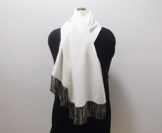 50s Mens Dress Scarf Vintage Scarf Black and White