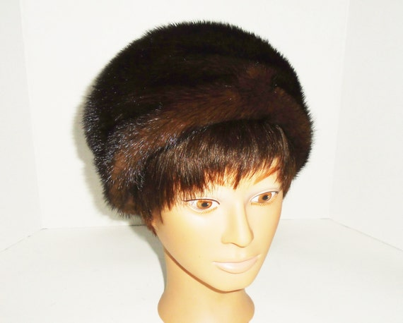 Vintage Mink Hat Brown Ranch Mink Pill Box Hat