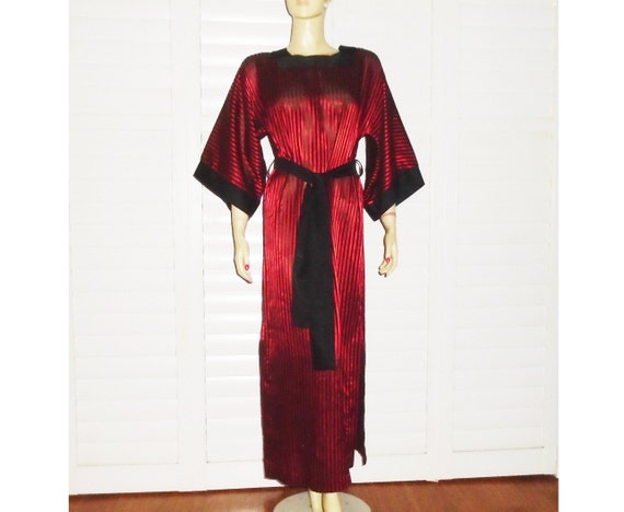 60s Silk Nightgown Red and Black Striped Loungewea