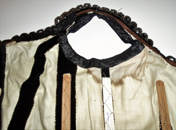 Victorian Corset Beaded Jet Black Velvet Lace Up … - image 8