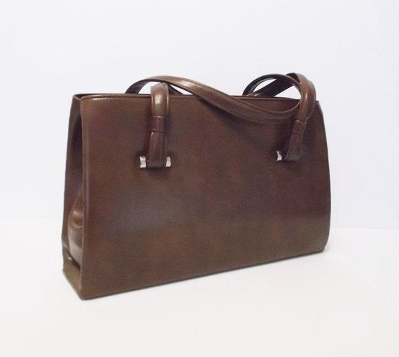 Vintage Bag Top Handle 60s Brown Handbag
