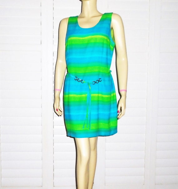 70s Mini Dress Belted Blue and Green Striped Dress