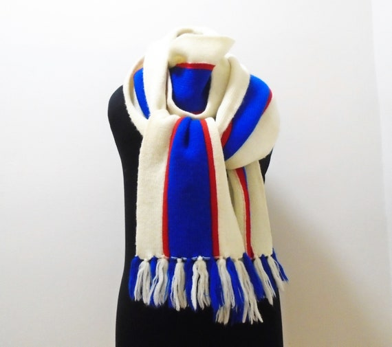 70s Wool Scarf Red White and Blue Extra Long Knit