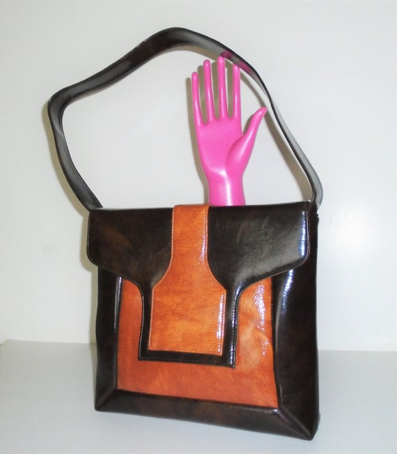 60s Mod Bag Vinyl Orange and Brown Vintage Handbag