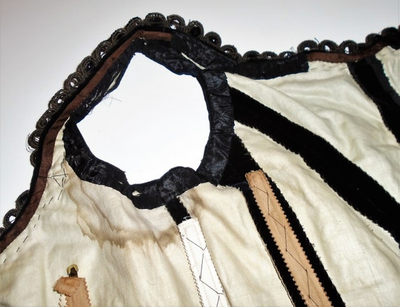 Victorian Corset Beaded Jet Black Velvet Lace Up … - image 7