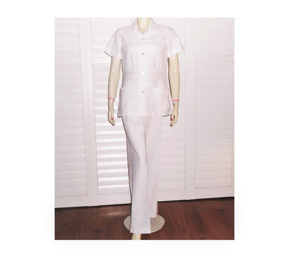 Vintage Nurse Uniform 70s Nurse Pants Set Large