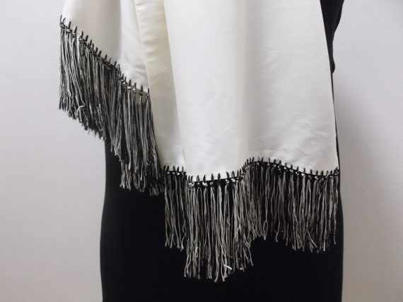 50s Mens Dress Scarf Vintage Scarf Black and Whit… - image 4