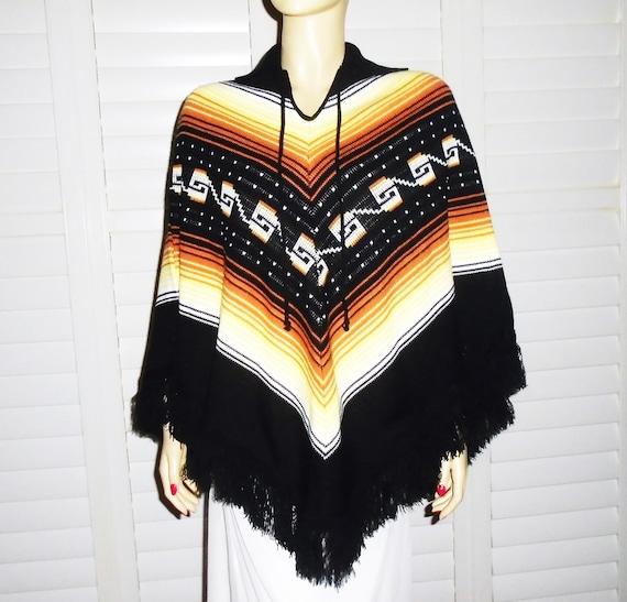70s Wool Poncho Knit Black and Orange Vintage Ponc