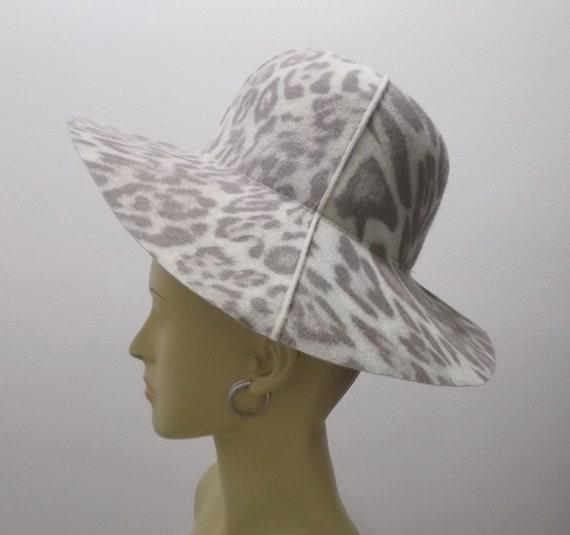 Vintage Hat 60s Leopard Print Wide Brim Hat