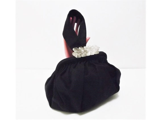 Vintage Black Bag 50s Evening Bag with Lucite Clas