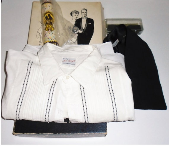 40s Tuxedo Shirt w Bow Tie and Cummerbund Groom Se