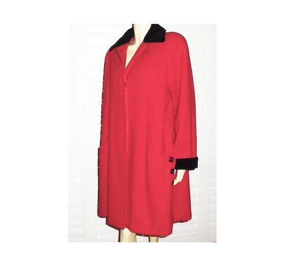 Vintage Red Wool Coat Velvet Trim 80s Donnybrook C