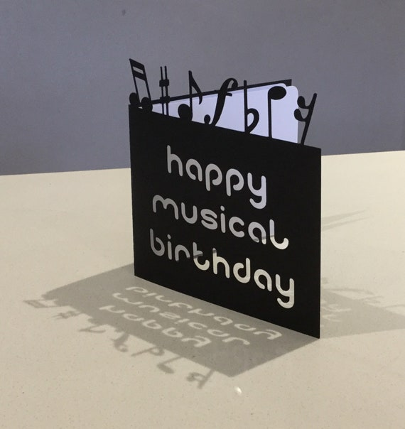 Papercut Musical Notes Music Birthday Card Art Gift Present