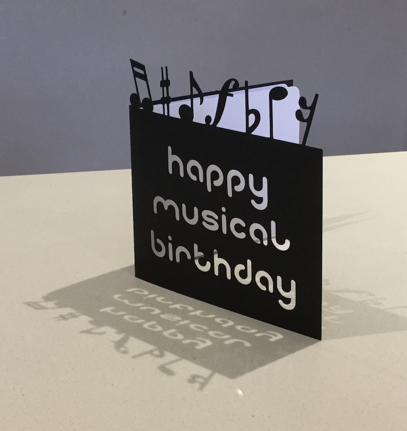 Papercut Musical Notes Music Birthday Card Art Gift Present