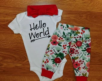 Baby Girl Hello World Going Home Outfit, shower gift, floral, bodysuit, leggings, topknot, headband, coming home, take home, photo prop