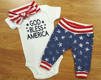 02956e503 God Bless America, baby girl, coming home outfit, baby shower gift, hat,  pants, take home, going home, American, USA, flag, stars, stripes