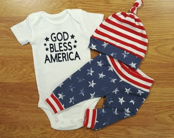 1526d384c God Bless America, baby boy, coming home outfit, baby shower gift, hat,  pants, take home, going home, American, USA, flag, stars, stripes
